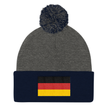 Dark Heather Grey/ Navy Germany Flag Pom Pom Knit Cap by Design Express