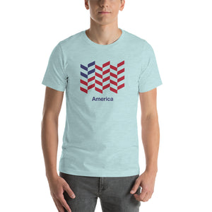 "Heather Prism Ice Blue / S America ""Barley"" Short-Sleeve Unisex T-Shirt by Design Express"