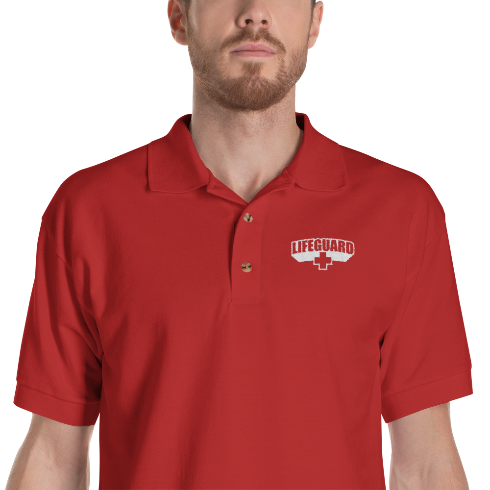 Lifeguard Classic Red Embroidered Polo Shirt