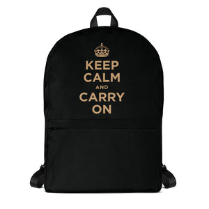 Default Title Keep Calm And Carry On (Black Gold) Backpack by Design Express