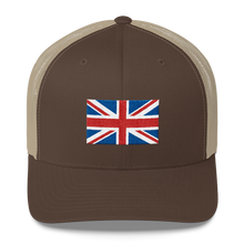 "Brown/ Khaki United Kingdom Flag ""Solo"" Trucker Cap by Design Express"