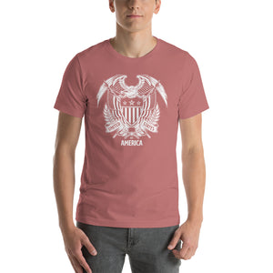 Mauve / S United States Of America Eagle Illustration Reverse Short-Sleeve Unisex T-Shirt by Design Express