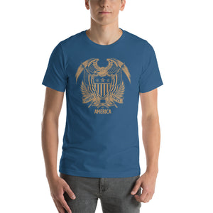 Steel Blue / S United States Of America Eagle Illustration Gold Reverse Short-Sleeve Unisex T-Shirt by Design Express
