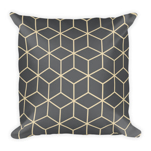 Diamonds Dark Grey Square Premium Pillow by Design Express
