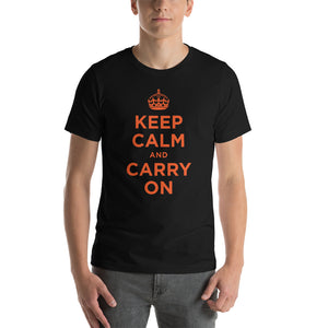 Black / XS Keep Calm and Carry On (Orange) Short-Sleeve Unisex T-Shirt by Design Express