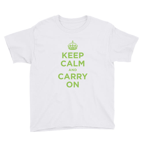 White / XS Keep Calm and Carry On (Green) Youth Short Sleeve T-Shirt by Design Express