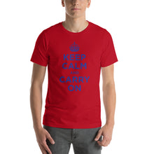 Red / S Keep Calm and Carry On (Navy Blue) Short-Sleeve Unisex T-Shirt by Design Express