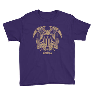 Purple / XS United States Of America Eagle Illustration Gold Reverse Youth Short Sleeve T-Shirt by Design Express