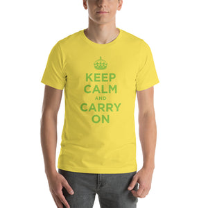 Yellow / S Keep Calm and Carry On (Green) Short-Sleeve Unisex T-Shirt by Design Express