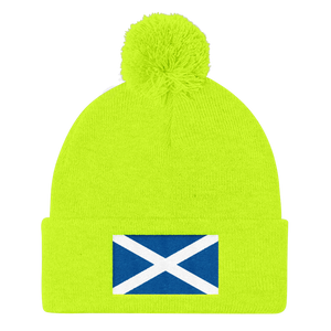 "Neon Yellow Scotland Flag ""Solo"" Pom Pom Knit Cap by Design Express"