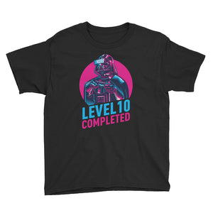 Black / XS Darth Vader Level 10 Completed Youth Short Sleeve T-Shirt by Design Express