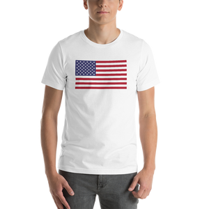 "White / S United States Flag ""Solo"" Short-Sleeve Unisex T-Shirt by Design Express"