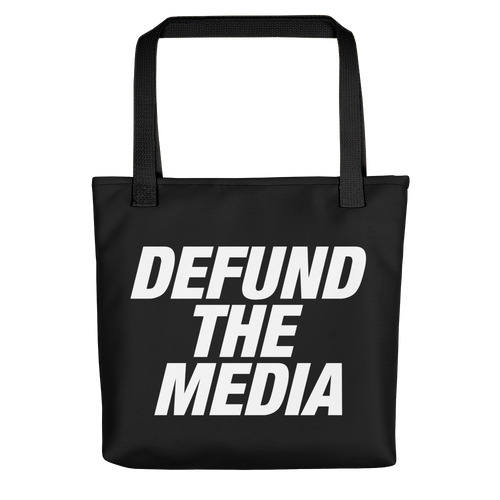 Defund The Media Italic Bold Black Tote bag