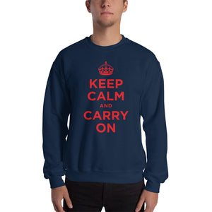 Navy / S Keep Calm and Carry On (Red) Unisex Sweatshirt by Design Express