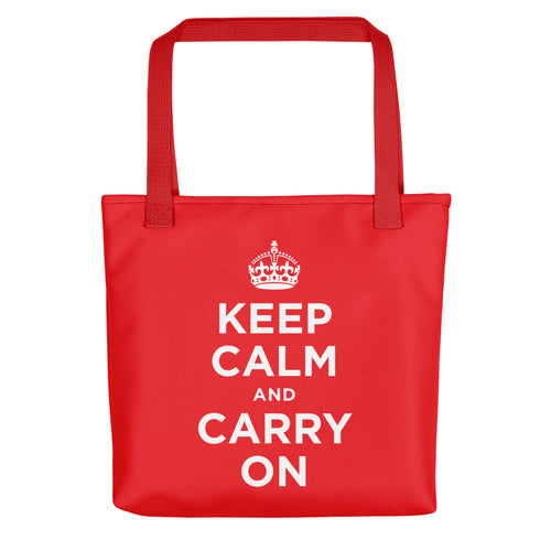 Red Keep Calm and Carry On (Red White) Tote bag Totes by Design Express