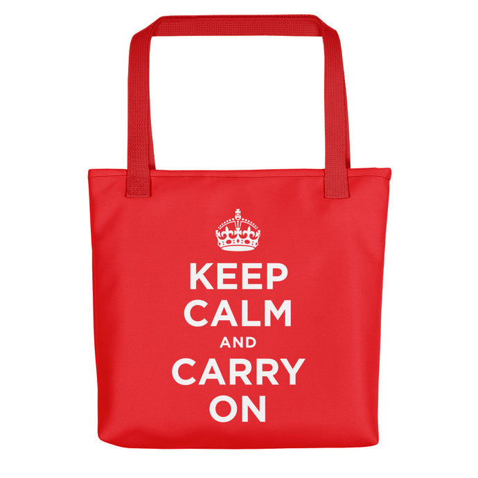 Keep Calm and Carry On (Red White) Tote bag