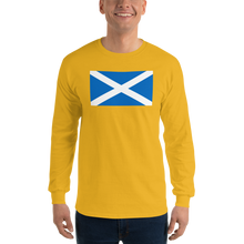 "Gold / S Scotland Flag ""Solo"" Long Sleeve T-Shirt by Design Express"