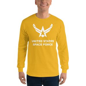 "Gold / S United States Space Force ""Reverse"" Long Sleeve T-Shirt by Design Express"