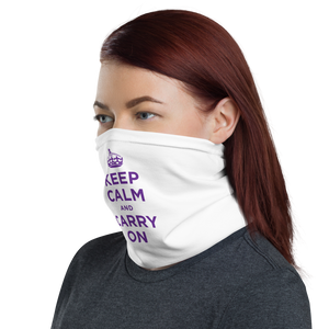 Purple Keep Calm & Carry On Neck Gaiter Masks by Design Express