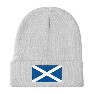 "White Scotland Flag ""Solo"" Knit Beanie by Design Express"
