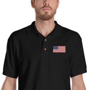 "Black / S United States Flag ""Solo"" Embroidered Polo Shirt by Design Express"