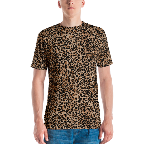 XS Golden Leopard Men's T-shirt by Design Express