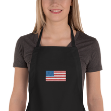 "Black United States Flag ""Solo"" Embroidered Apron by Design Express"