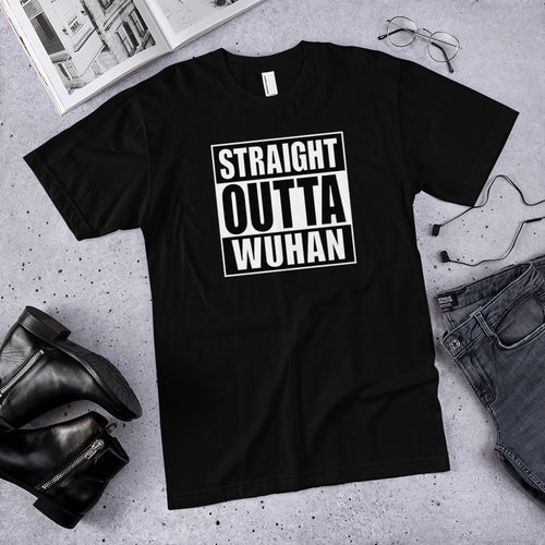 XS Straight Outta Wuhan Unisex T-Shirt (100% Made in the USA 🇺🇸) by Design Express