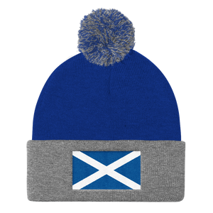 "Royal/ Heather Grey Scotland Flag ""Solo"" Pom Pom Knit Cap by Design Express"