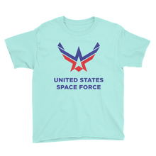 Teal Ice / S United States Space Force Youth Short Sleeve T-Shirt by Design Express
