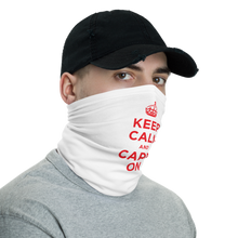 Red Keep Calm & Carry On Neck Gaiter Masks by Design Express