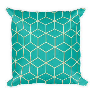 Diamonds Turquoise Square Premium Pillow by Design Express