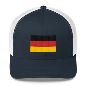 Navy/ White Germany Flag Embroidered Trucker Cap by Design Express