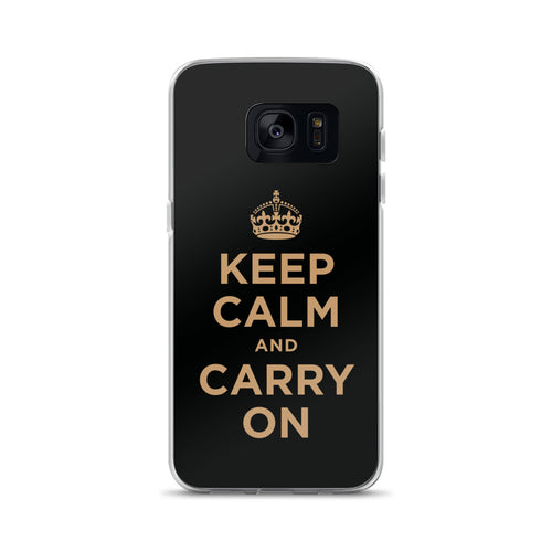 Samsung Galaxy S7 Keep Calm and Carry On (Black Gold) Samsung Case Samsung Case by Design Express
