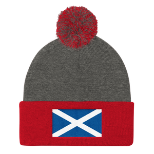 "Dark Heather Grey/ Red Scotland Flag ""Solo"" Pom Pom Knit Cap by Design Express"