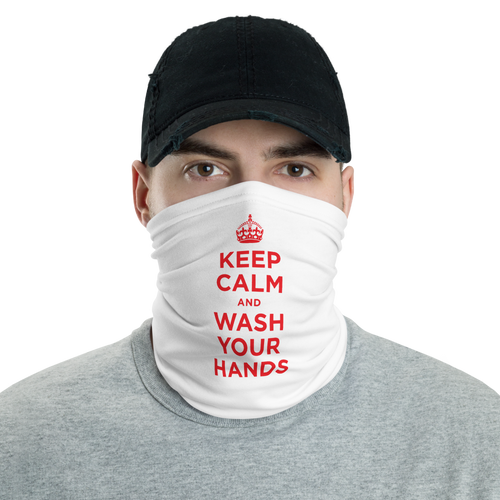 Default Title White Red Keep Calm and Wash Your Hands Neck Gaiter Masks by Design Express