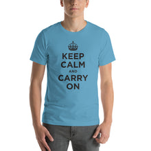 Ocean Blue / S Keep Calm and Carry On (Black) Short-Sleeve Unisex T-Shirt by Design Express