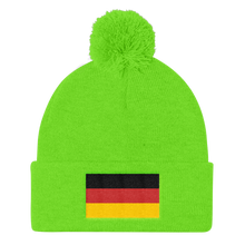 Neon Green Germany Flag Pom Pom Knit Cap by Design Express