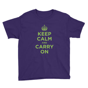 Purple / XS Keep Calm and Carry On (Green) Youth Short Sleeve T-Shirt by Design Express