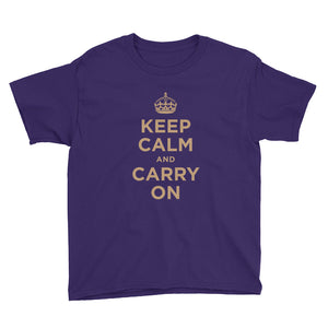 Purple / XS Keep Calm and Carry On (Gold) Youth Short Sleeve T-Shirt by Design Express
