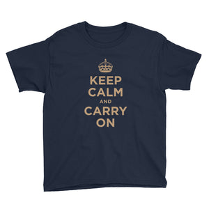 Navy / XS Keep Calm and Carry On (Gold) Youth Short Sleeve T-Shirt by Design Express
