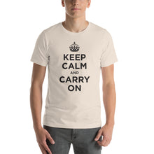 Soft Cream / S Keep Calm and Carry On (Black) Short-Sleeve Unisex T-Shirt by Design Express