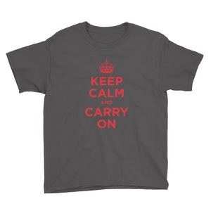 Charcoal / XS Keep Calm and Carry On (Red) Youth Short Sleeve T-Shirt by Design Express