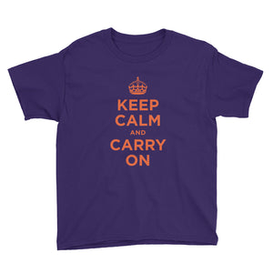 Purple / XS Keep Calm and Carry On (Orange) Youth Short Sleeve T-Shirt by Design Express