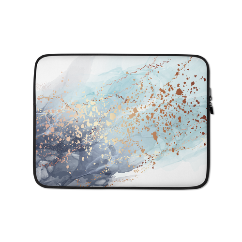 13 in Soft Blue Gold Laptop Sleeve by Design Express
