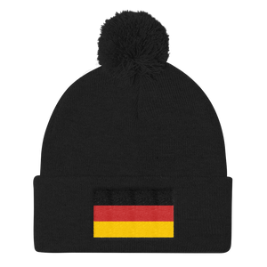Black Germany Flag Pom Pom Knit Cap by Design Express