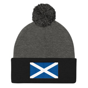 "Dark Heather Grey/ Black Scotland Flag ""Solo"" Pom Pom Knit Cap by Design Express"