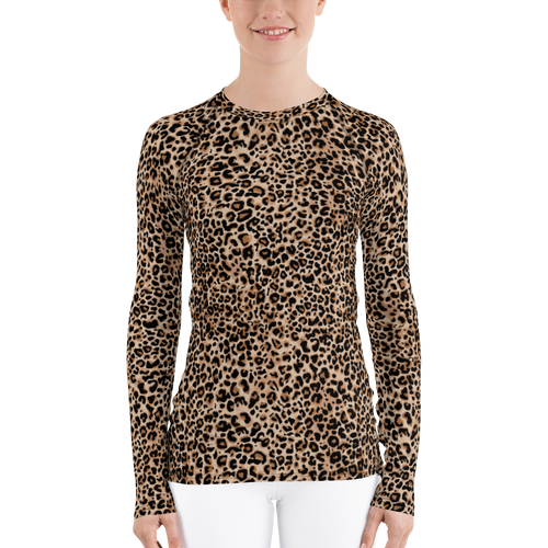XS Golden Leopard Women's Rash Guard by Design Express