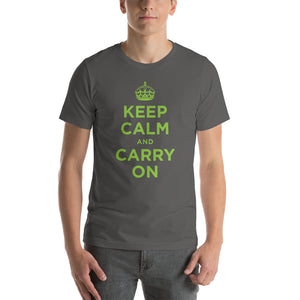 Asphalt / S Keep Calm and Carry On (Green) Short-Sleeve Unisex T-Shirt by Design Express