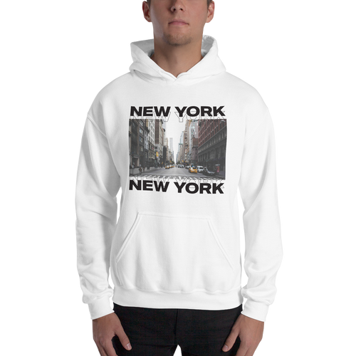 S New York Unisex White Hoodie by Design Express